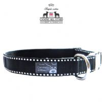 DOG COLLAR - WHITE SADDLE STITCH ON BLACK